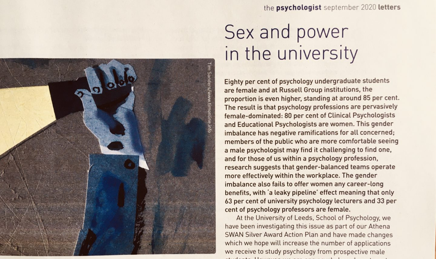 Gender and power in psychology: Our letter to the BPS