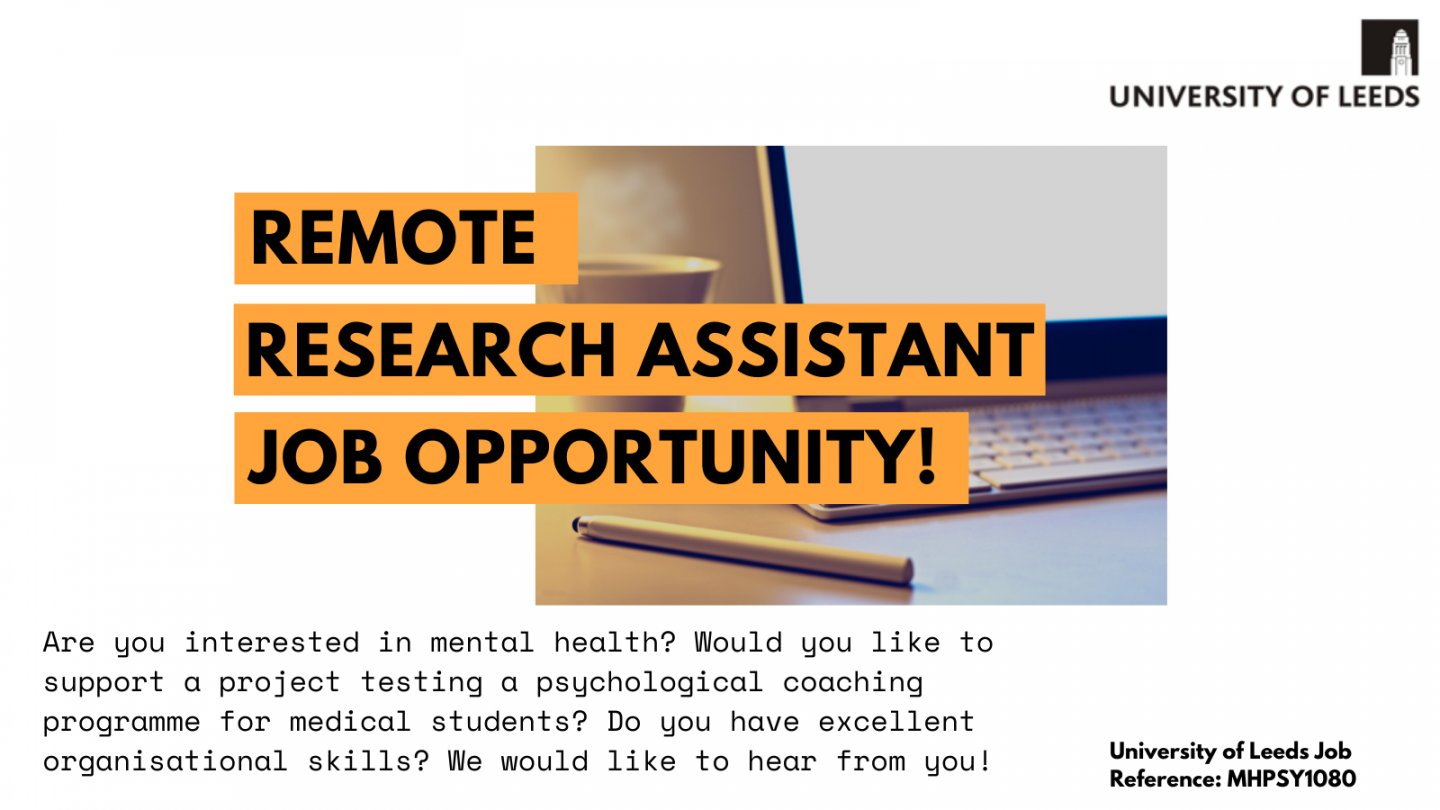 Remote-working opportunity for a research assistant! **Deadline October 13th**
